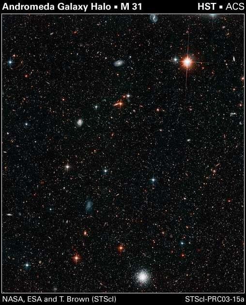 На рисунке показаны звезды из гало Андромеды. Нажмите для просмотра в полном размере...